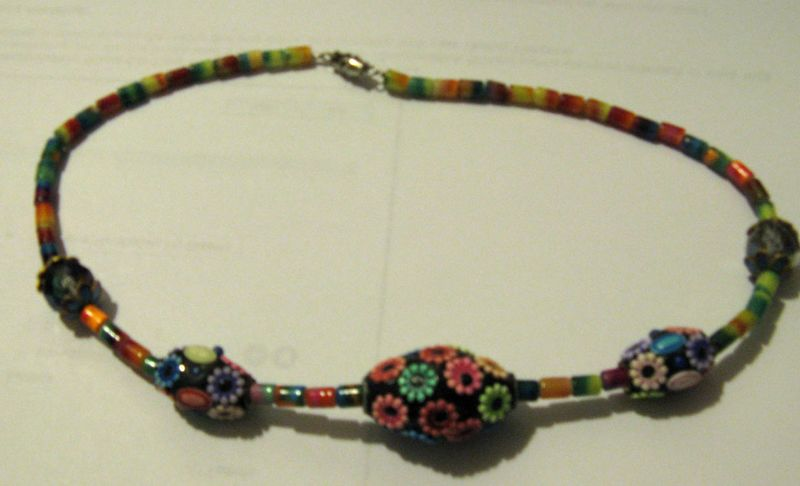 Rainbowflowerbeadnecklace